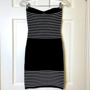 Bebe Strapless Bodycon Dress Black & White - S